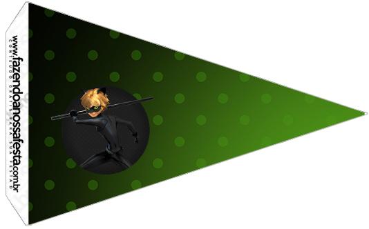 Bandeirinha Sanduiche 6 Kit Festa Miraculous Cat Noir