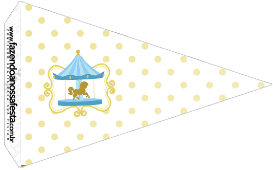 Bandeirinha Sanduiche Kit Festa Carrossel Azul 4