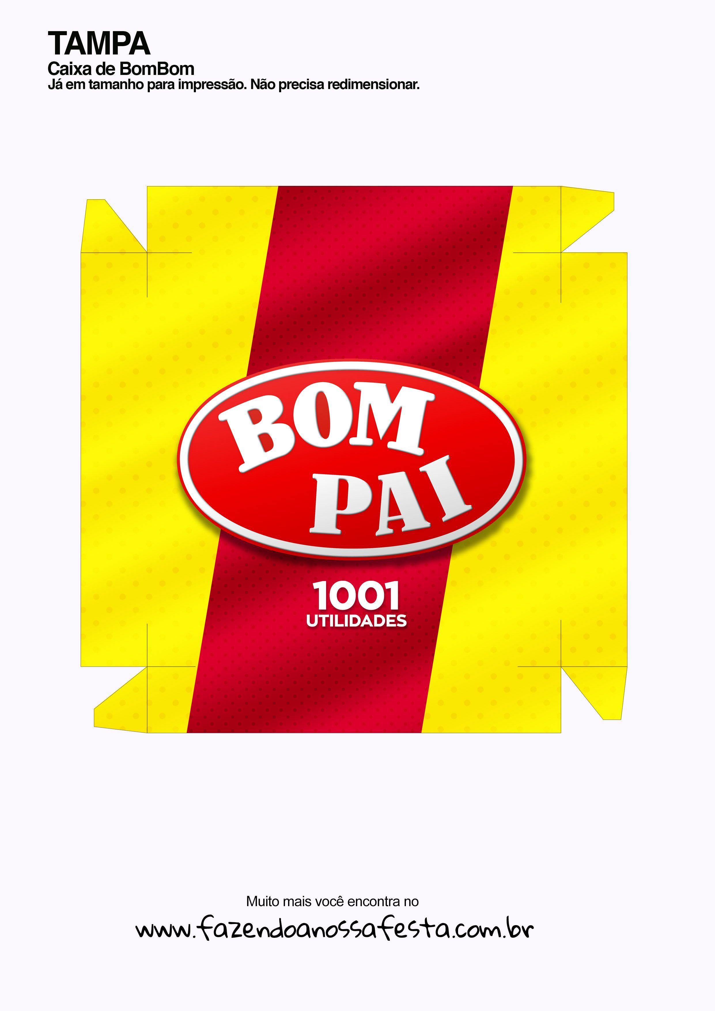 Caixa bombom Kit Bom Pai - parte de cima