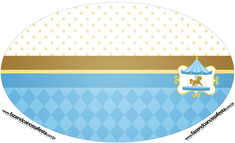 Placa Elipse Carrossel Azul