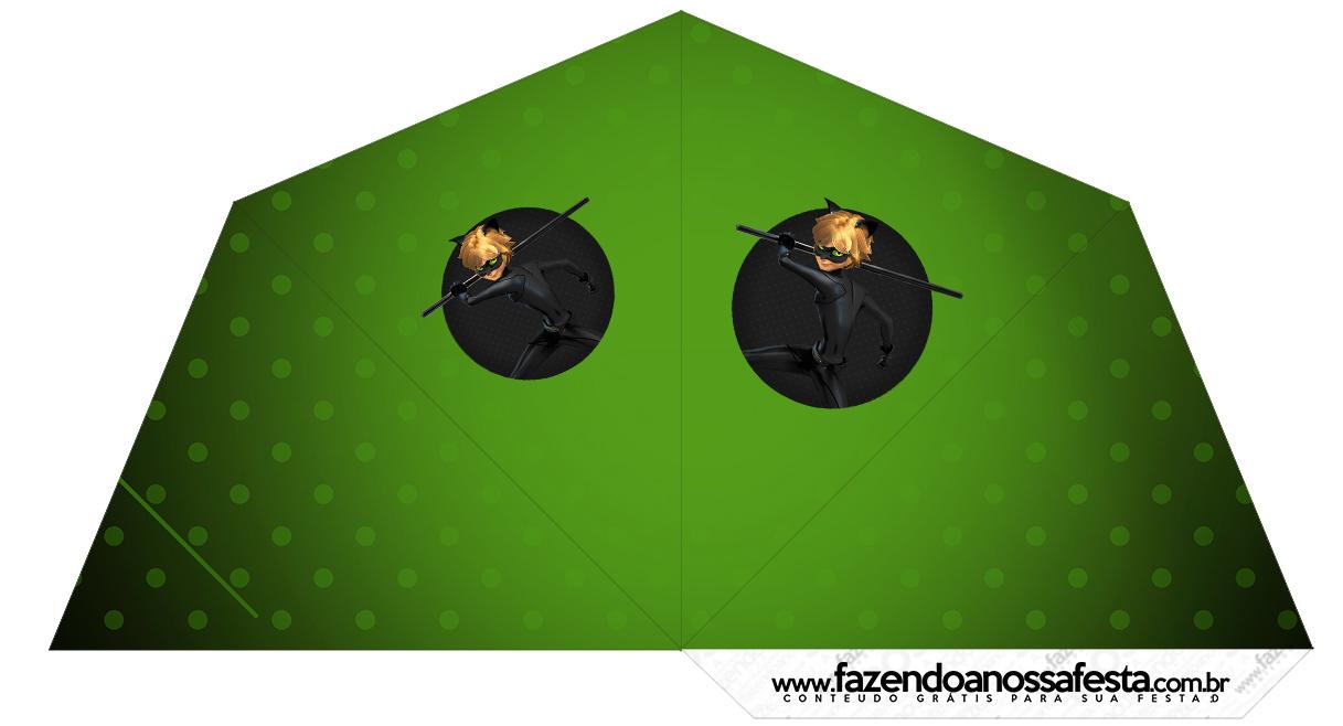 Cone Guloseimas 4 lados Miraculous Cat Noir