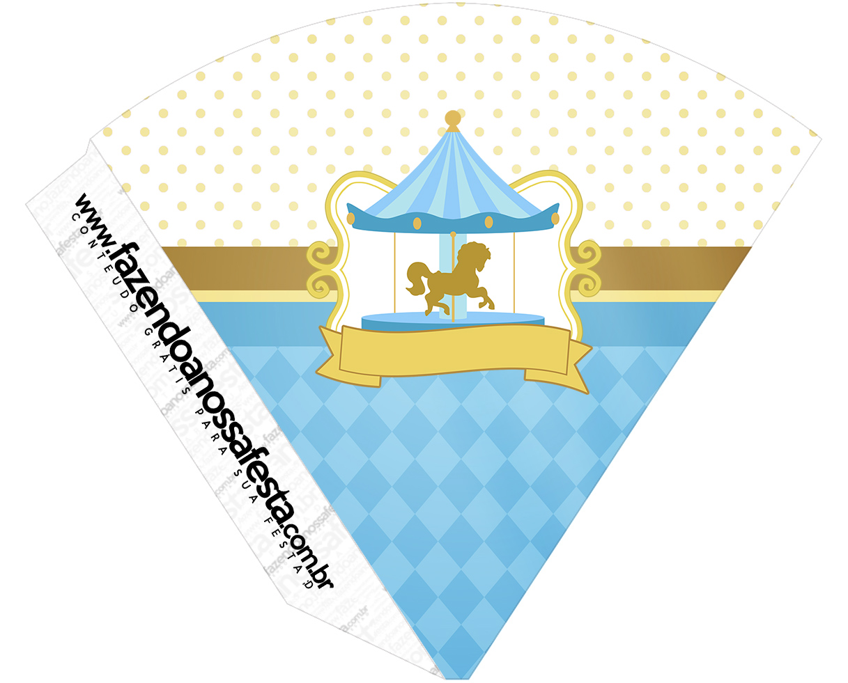Cone Guloseimas Carrossel Azul