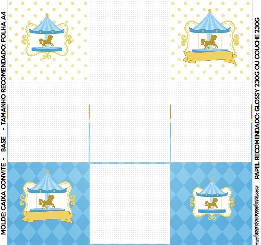 Convite Caixa Fundo Carrossel Azul