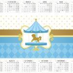 Convite Calendário 2016 Carrossel Azul