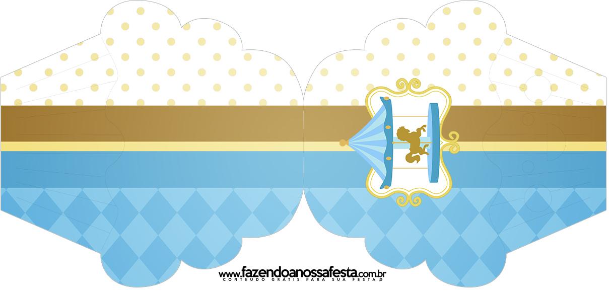Convite Cupcake Carrossel Azul