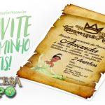 Convite Pergaminho Princesa e o Sapo Grátis