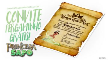 Convite Pergaminho Princesa e o Sapo Modelo
