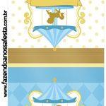 Convite Pirulito Carrossel Azul