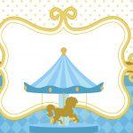 Convite para festa Carrossel Azul