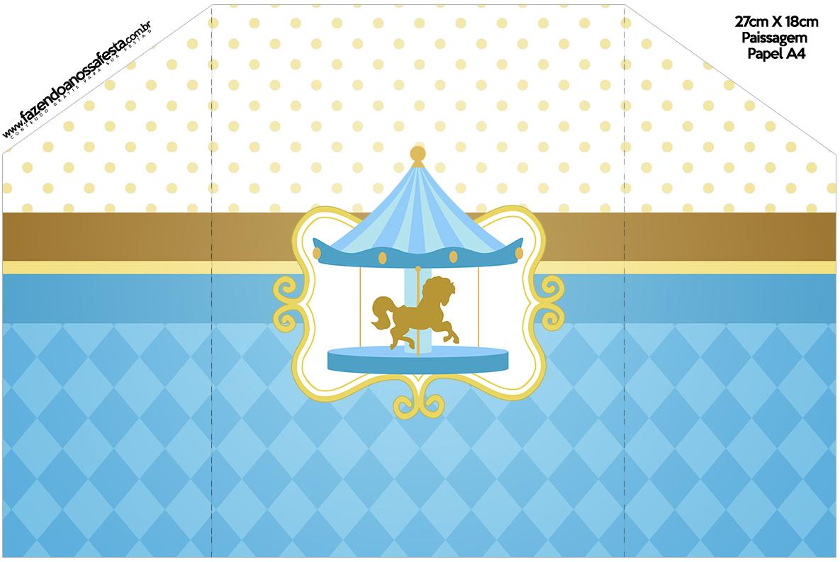 Envelope Convite Carrossel Azul