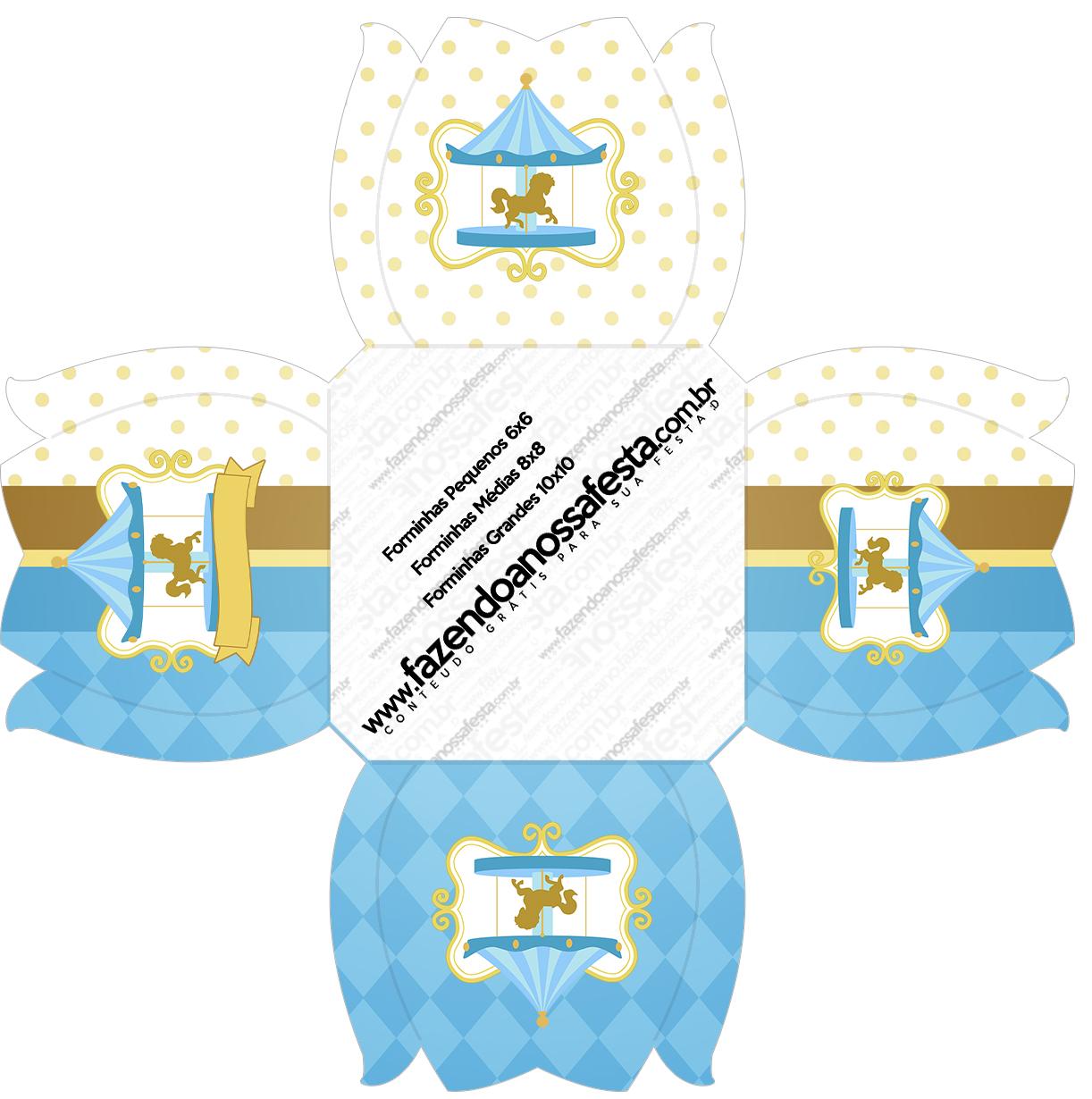 Forminhas Docinhos Flor Carrossel Azul