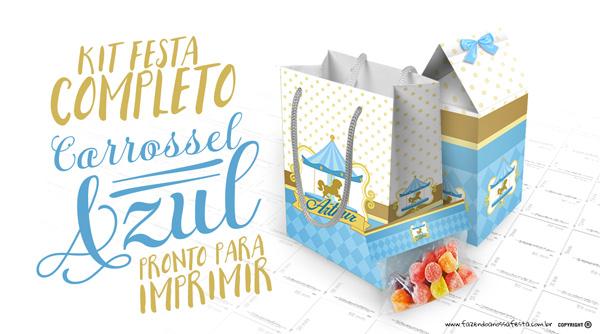 Kit Festa Carrossel Azul Modelo