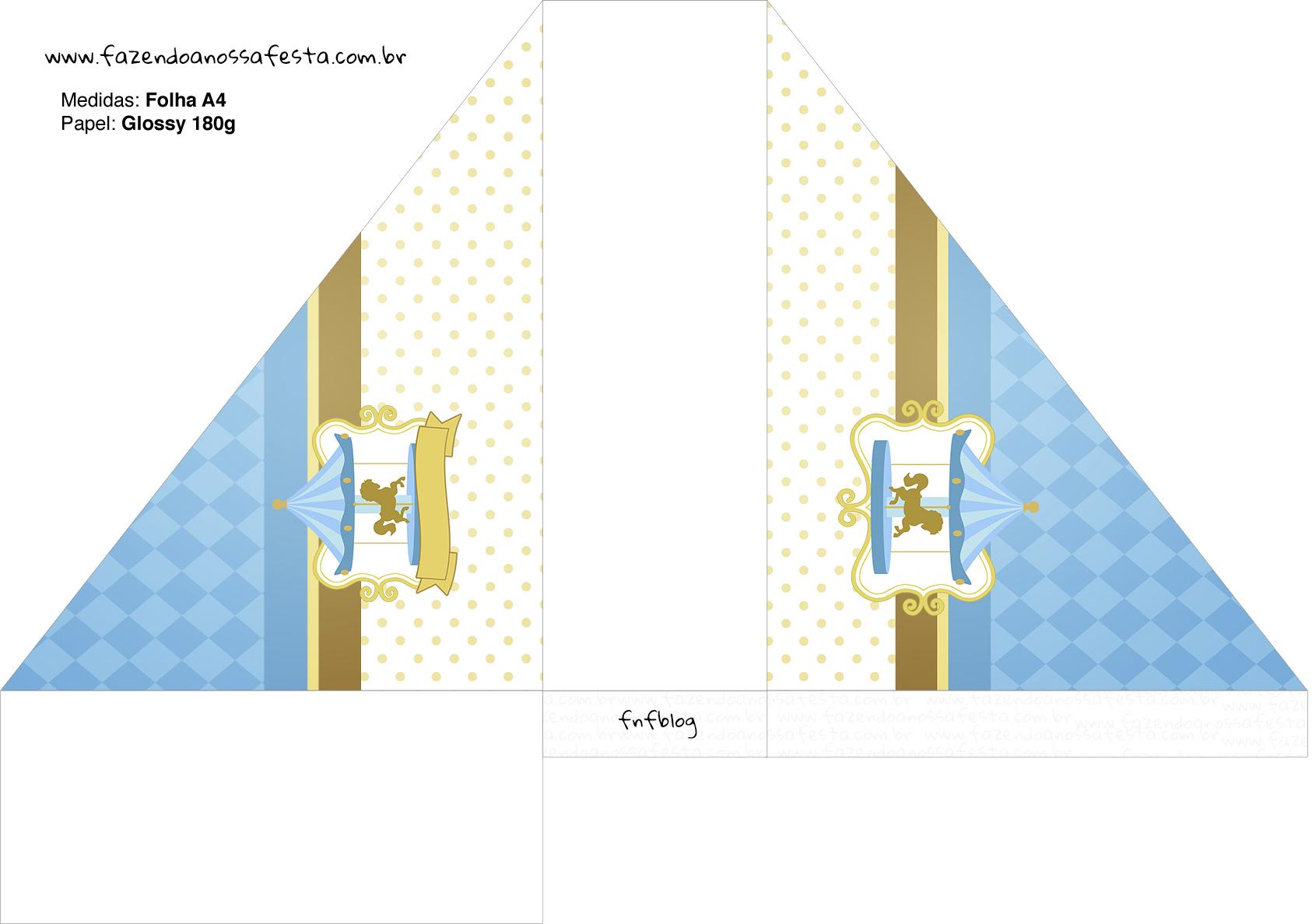 Porta Guardanapos Carrossel Azul