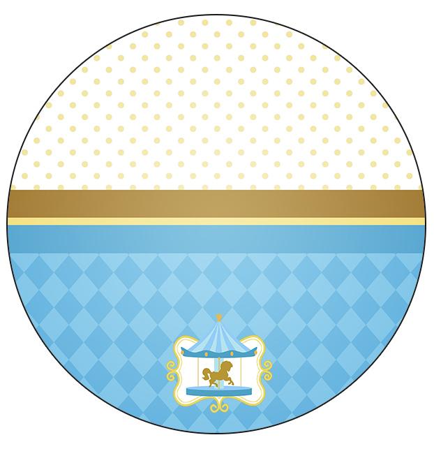 Rótulo Toppers Carrossel Azul