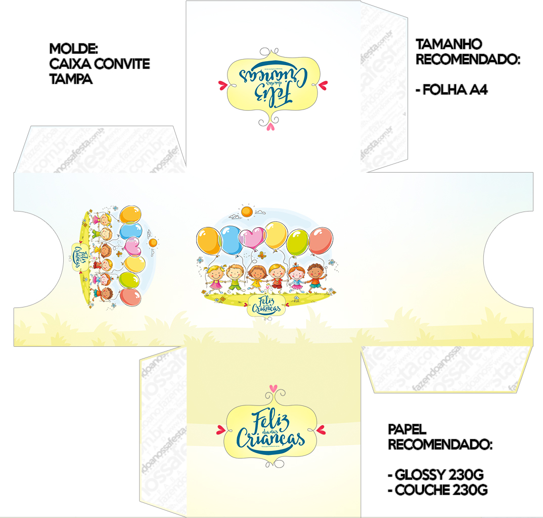 Convite caixa tampa Kit Dia das Crianças