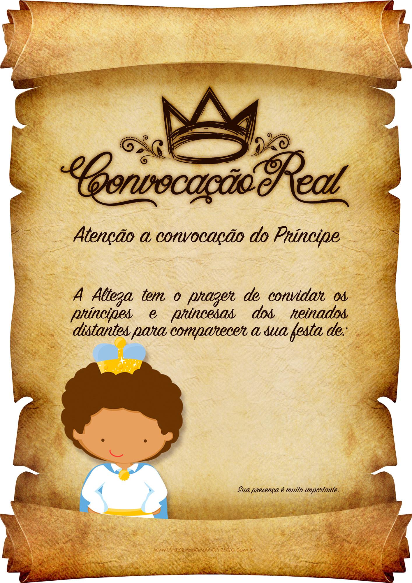 Convite Pergaminho Principe Afro 2