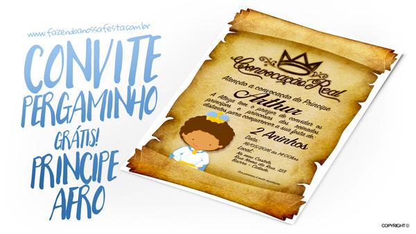 Convite Pergaminho Príncipe Afro Modelo