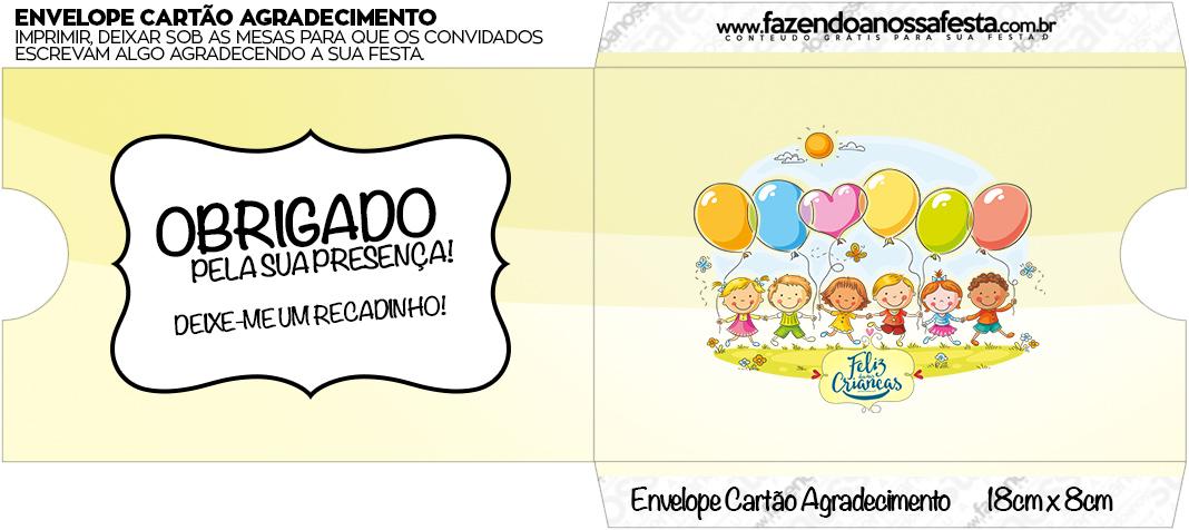 Envelope do Cartão Agradecimento Kit Dia das Crianças