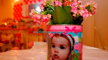 Lata de leite Festa Peppa Pig da Maria Fernanda centro de mesa