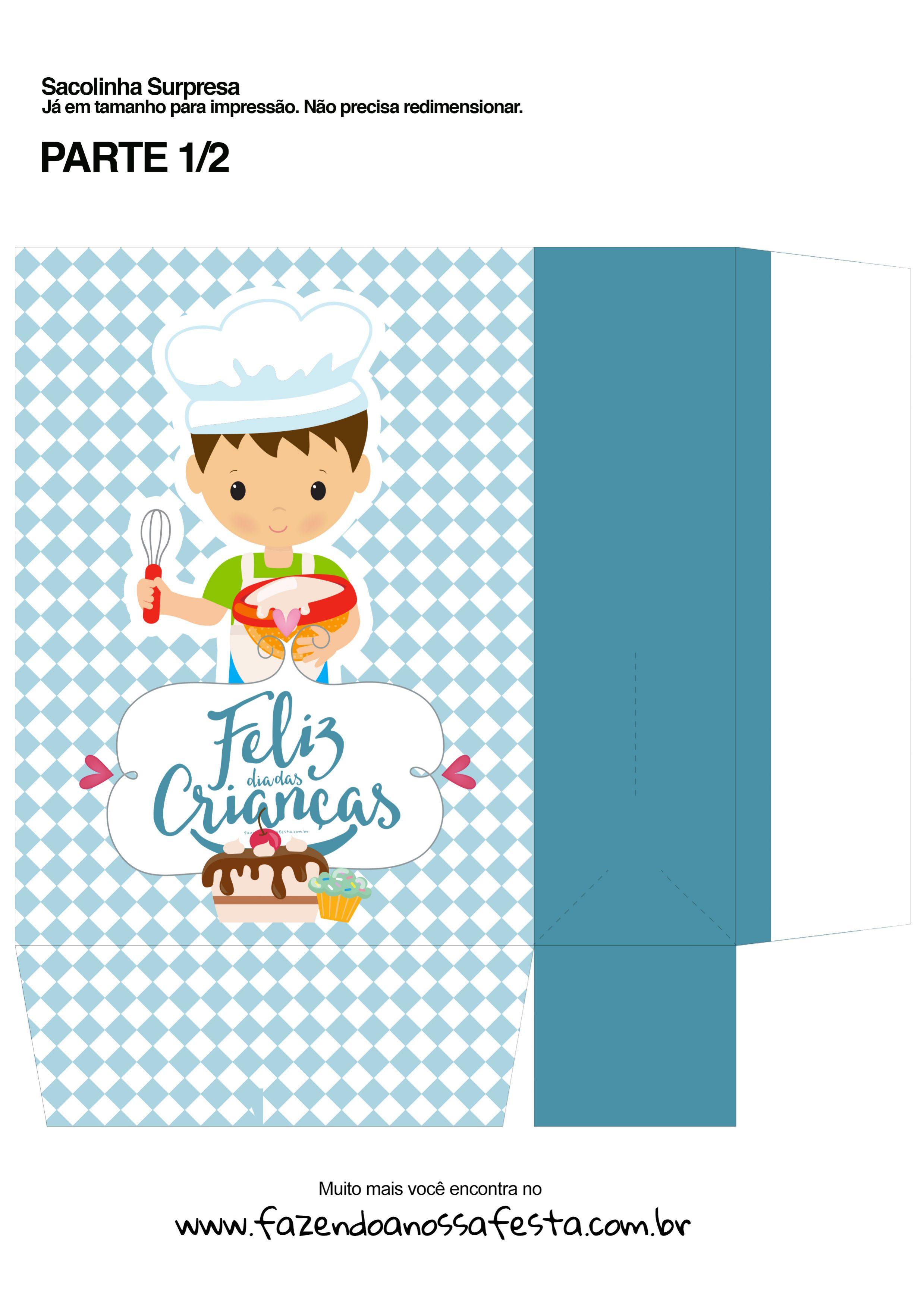 Sacolinha Surpresa Dia das Crianças Cozinheiro - parte 1