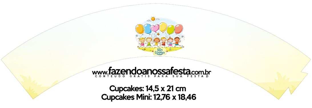 Saias Wrappers para Cupcakes Dia das Crianças