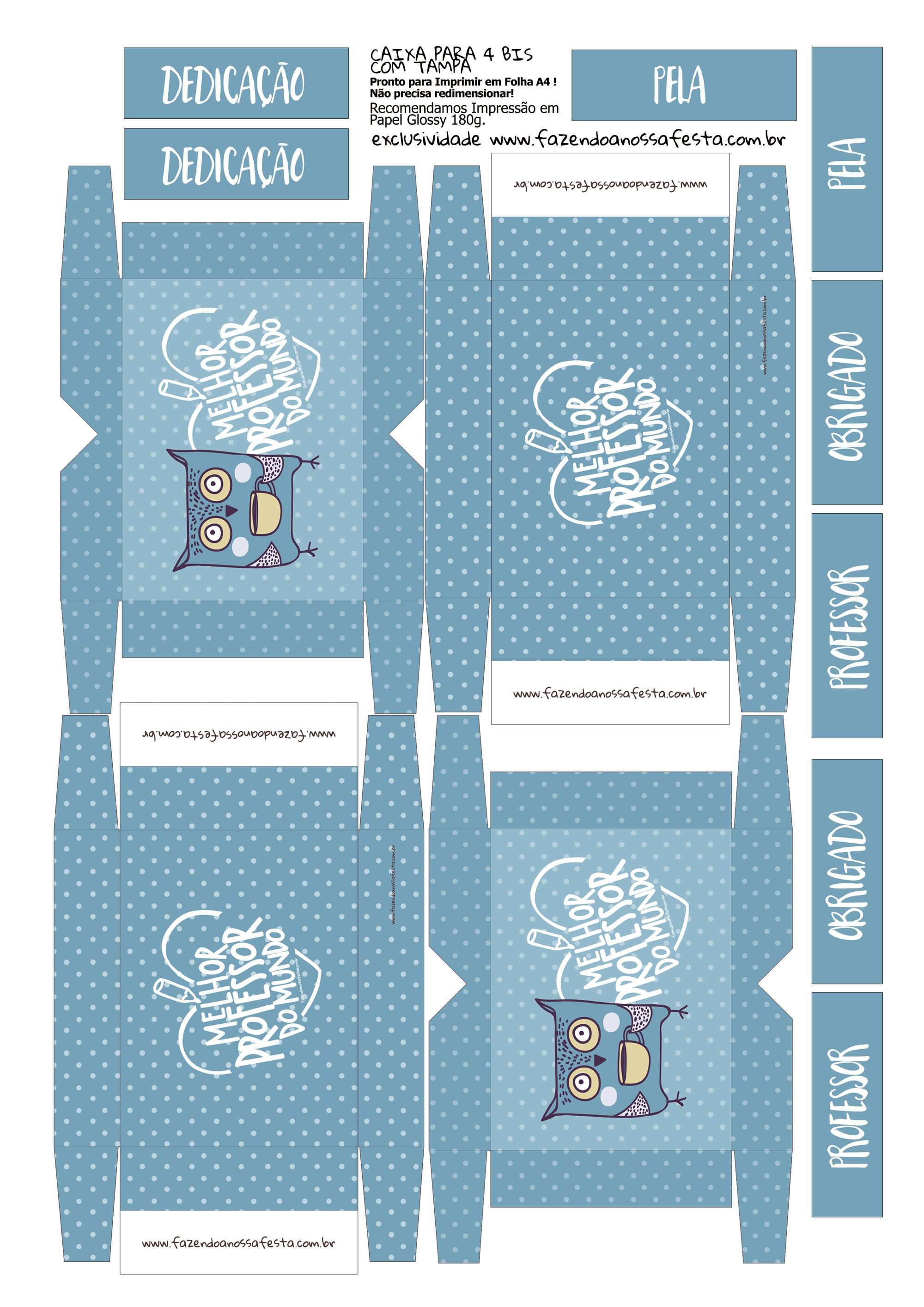 Caixa 4 Bis Azul Lembrancinha Dia do Professor
