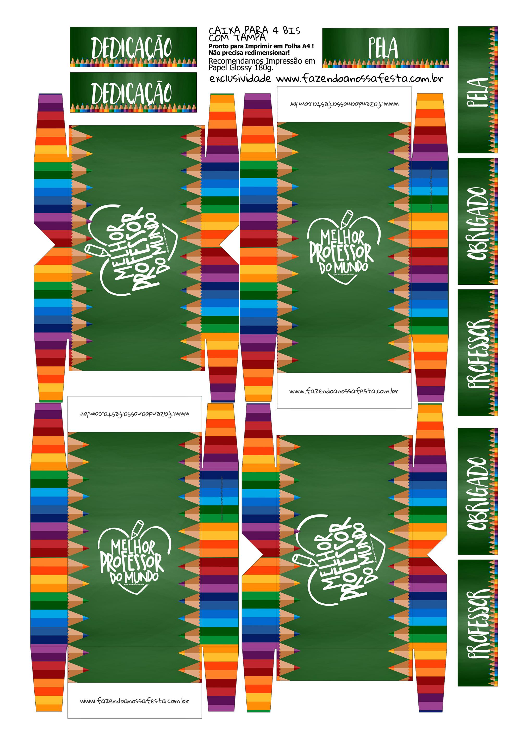 Caixa 4 Bis Verde Lembrancinha Dia do Professor