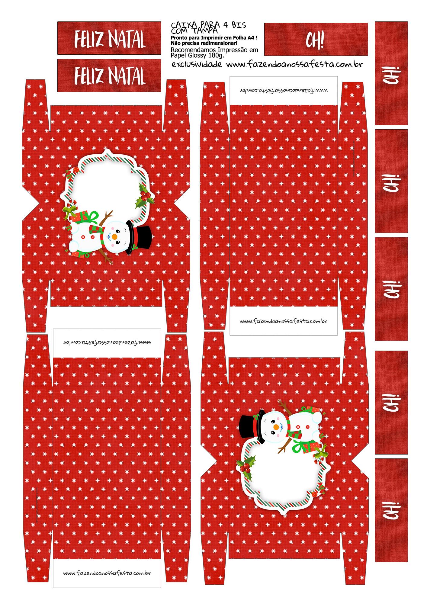 Caixa 4 Bis para Natal Boneco de Neve