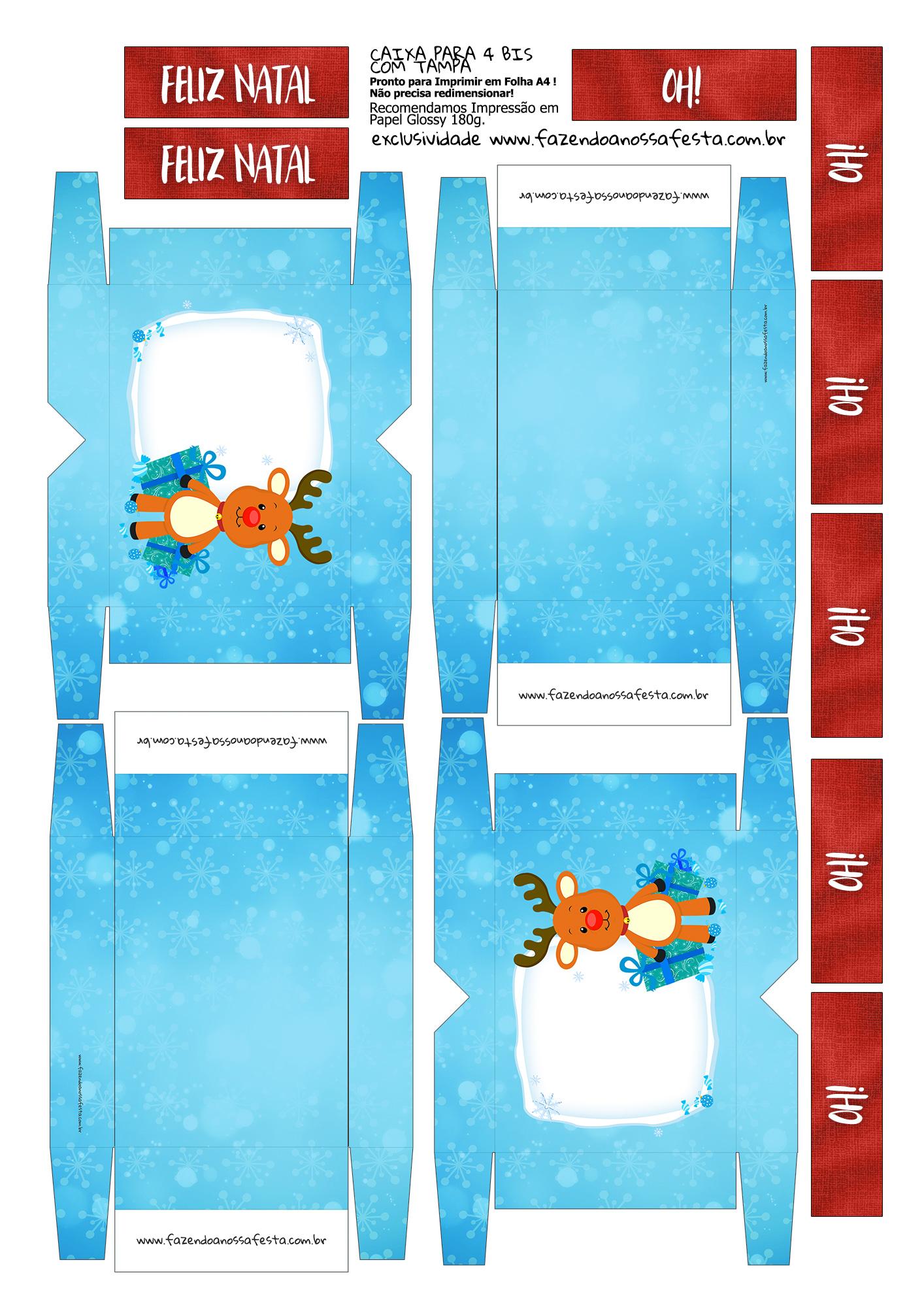 Caixa 4 Bis para Natal Rena Azul