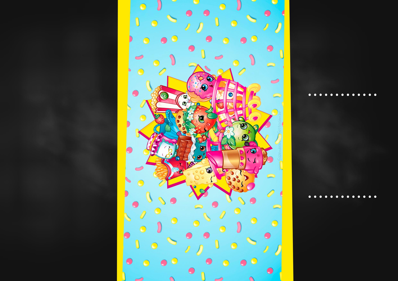 Convite Chalkboard Kit Festa Shopkins Azul