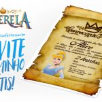 Convite Pergaminho Cinderela Grátis para Imprimir