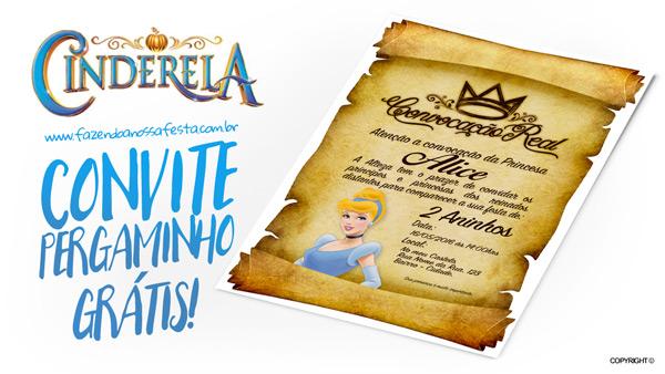 Convite Pergaminho Cinderela