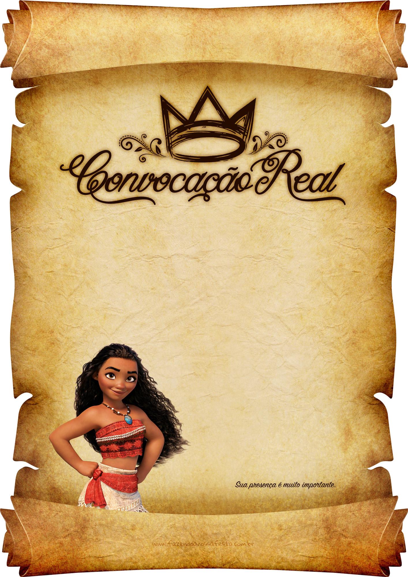 Convite Pergaminho Princesa Moana