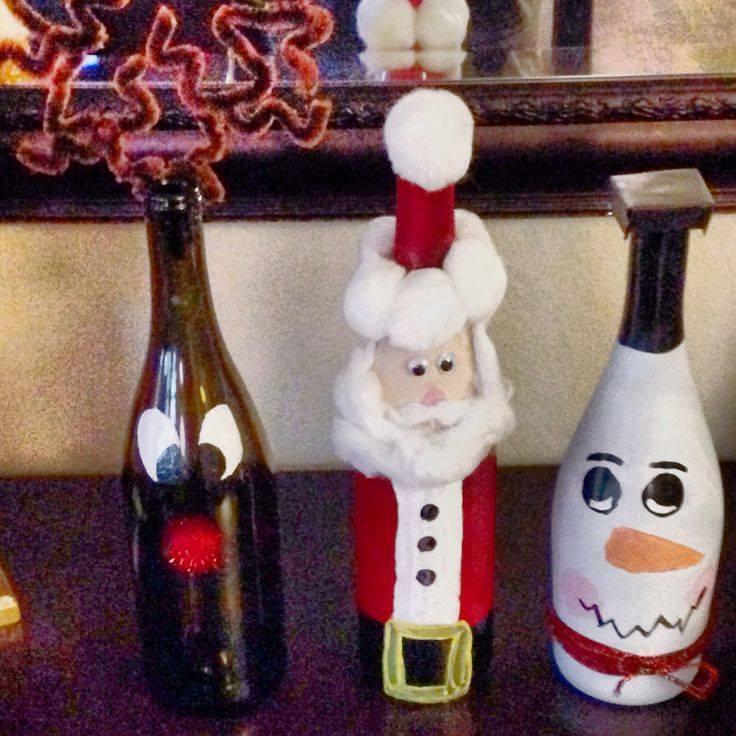 Garrafas decoradas para o Natal 4