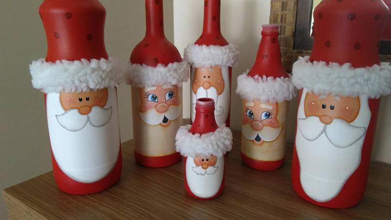 Garrafas decoradas para o Natal - Leitora Margarida Isoppo