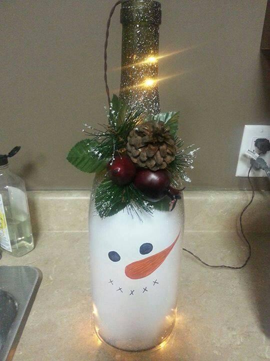 Ideia Garrafa decorada para o Natal 4