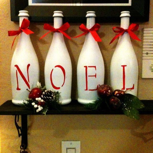 Ideia Garrafa decorada para o Natal