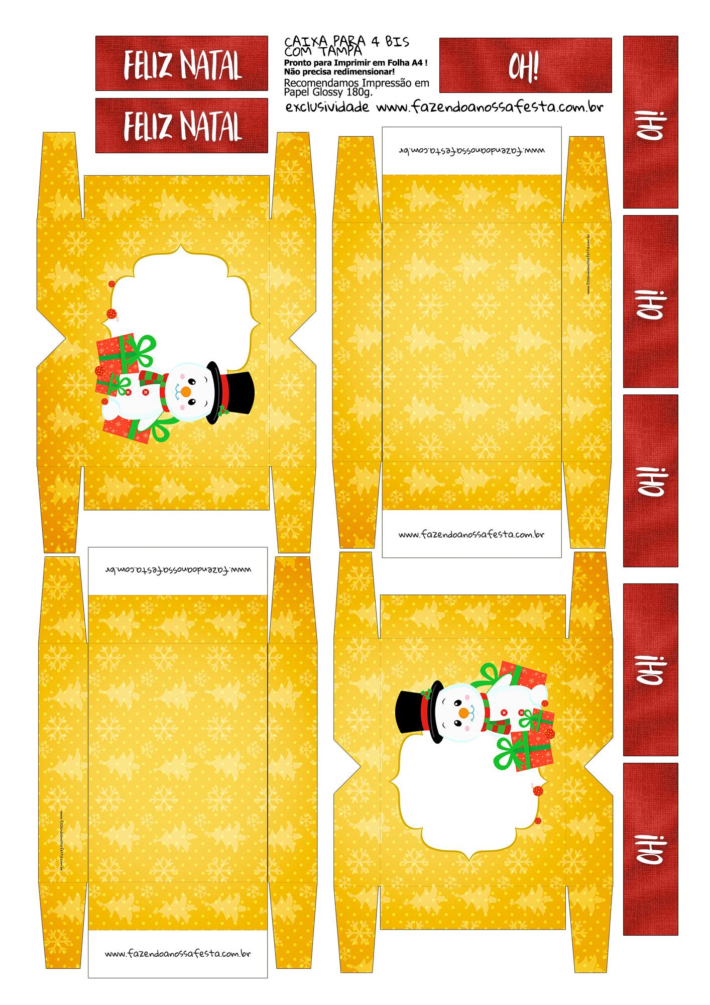 Caixa 4 Bis para Natal Boneco de Neve Amarelo