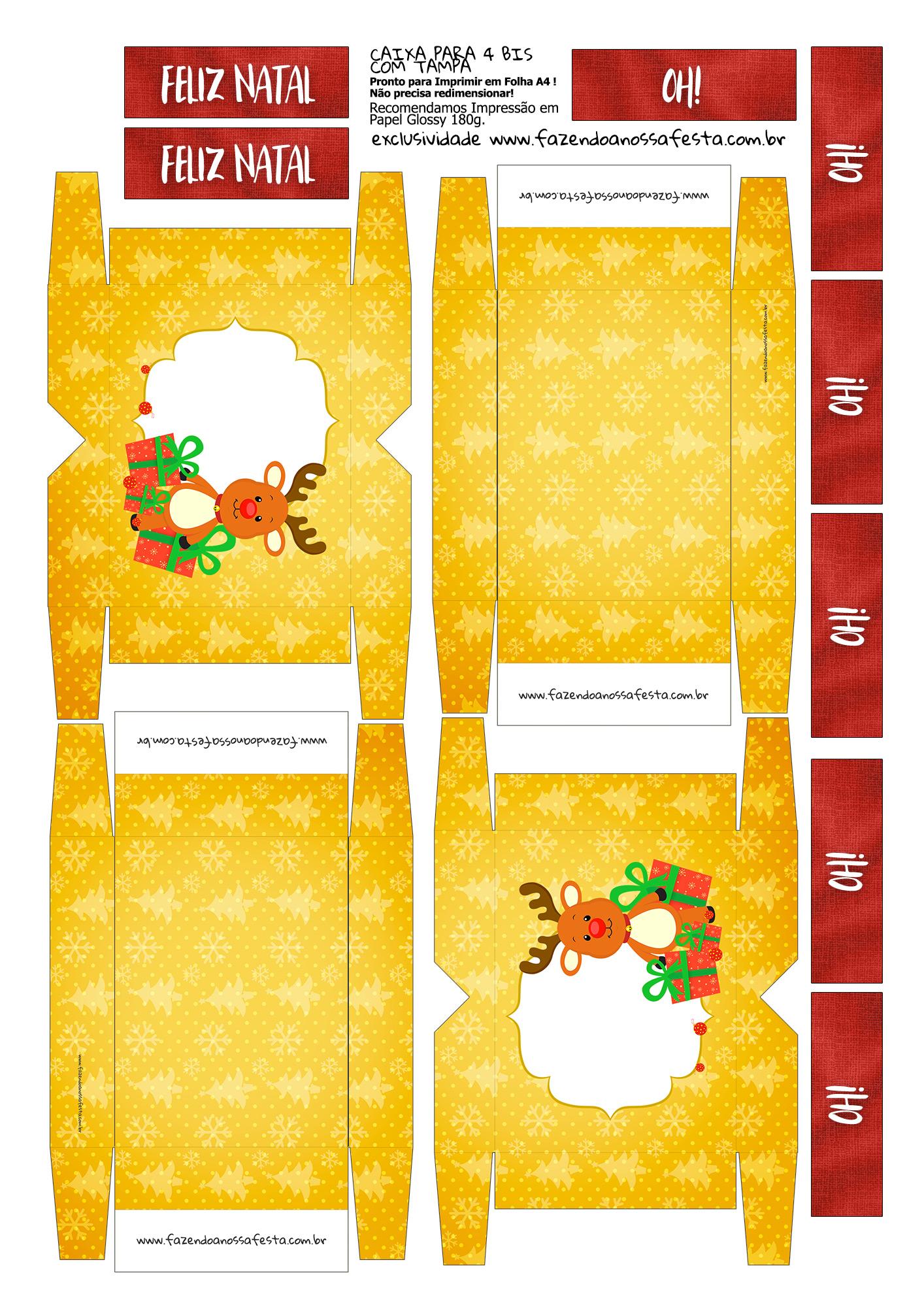 Lembrancinha para Natal Rena Amarela Caixa 4 Bis