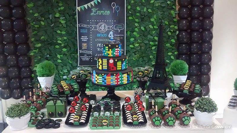 Mesa dos doces Festa Cat Noir do Enrico