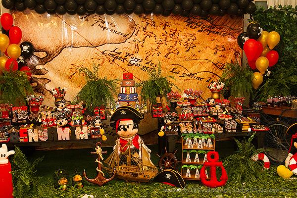 Mesa dos doces Festa Mickey Pirata para Inspiração