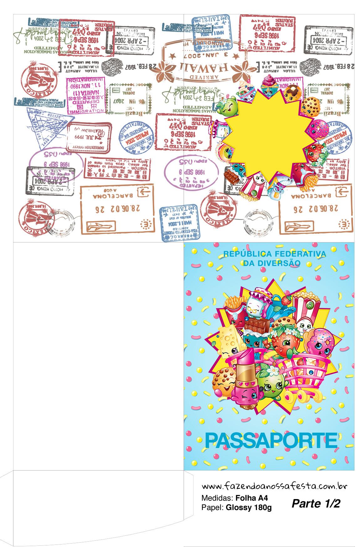 Molde passaporte Kit Festa Shopkins Azul