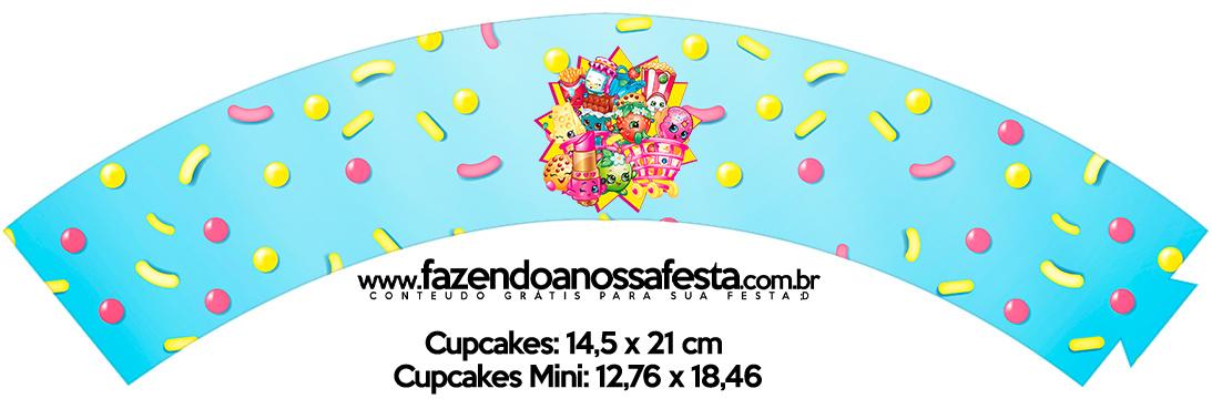Saias Wrappers para Cupcakes Shopkins Azul