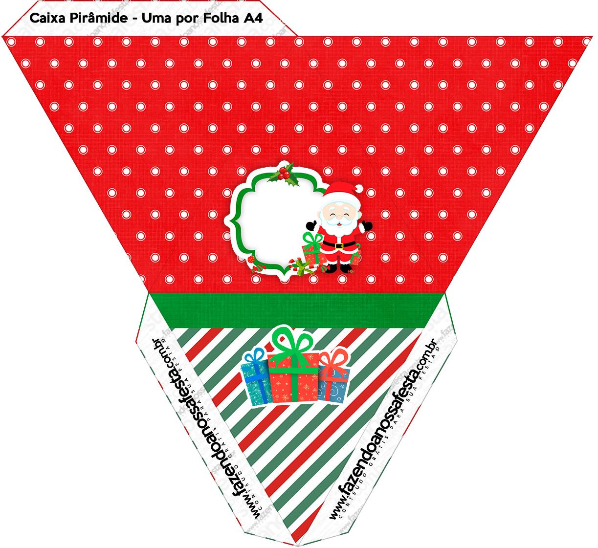 Caixa Pirâmide Natal Papai Noel