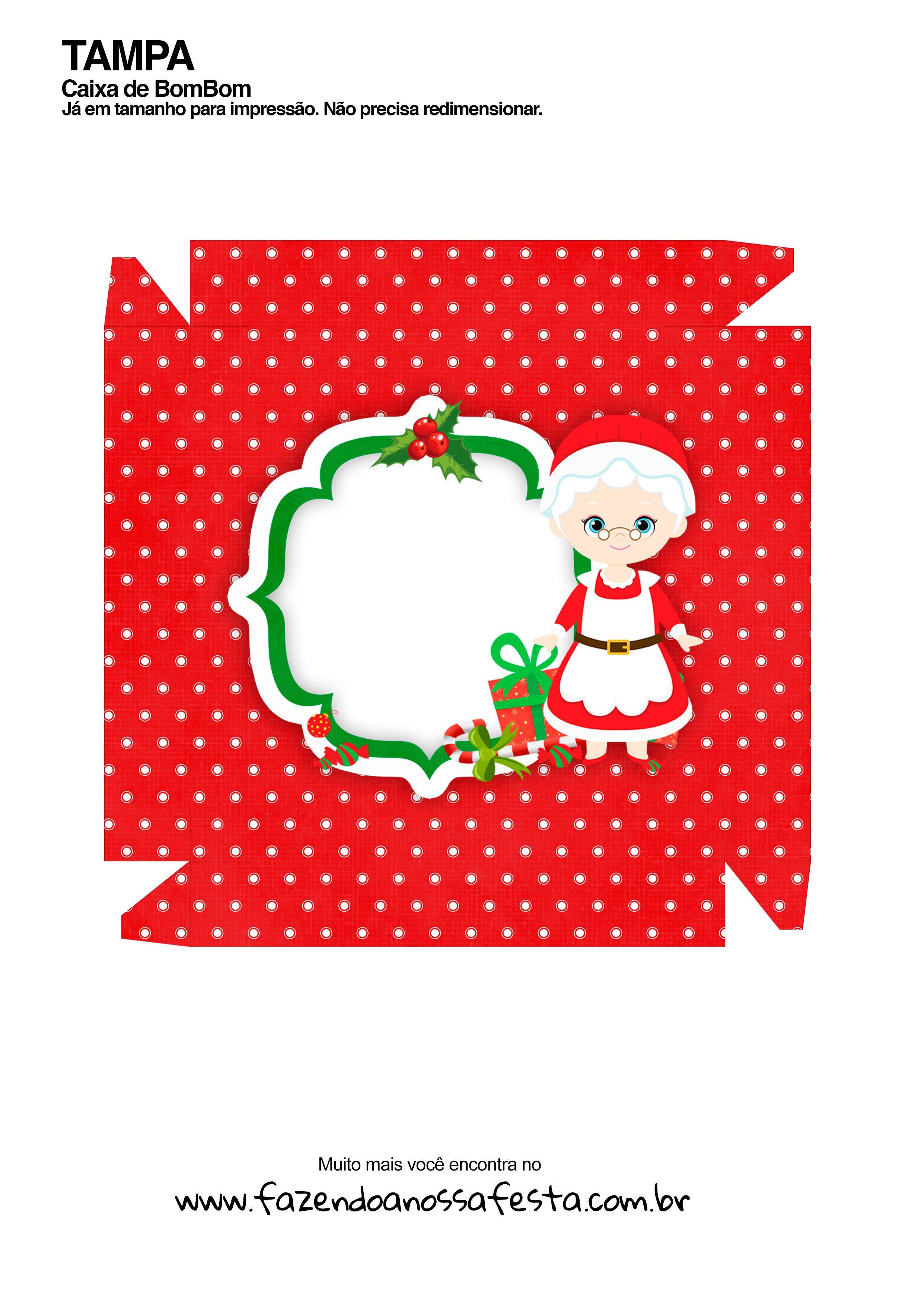 Caixa Talento Prestígio e Bis para Natal - Mamãe Noel Vermelha - parte de fora