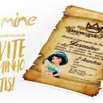 Convite Pergaminho Princesa Jasmine Grátis para Imprimir