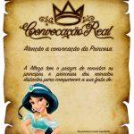 Convite Pergaminho Princesa Jasmine com escritas