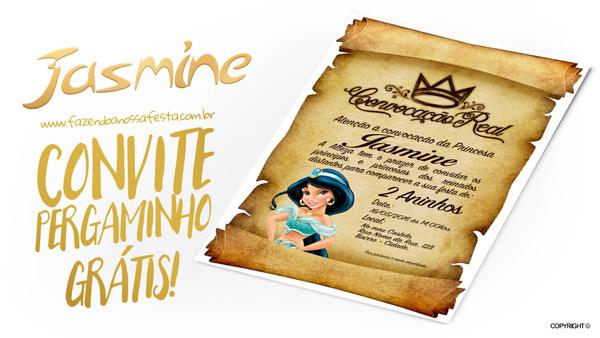 Convite Pergaminho Princesa Jasmine