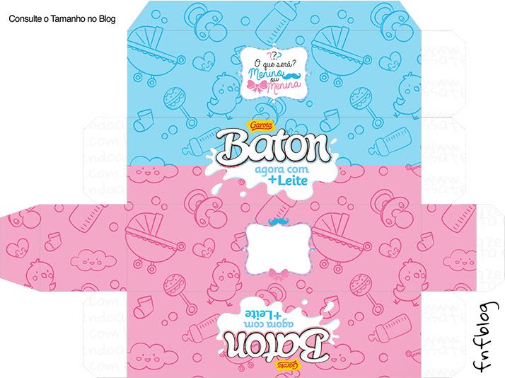 Caixa de Baton Kit Festa Chá de Revelação