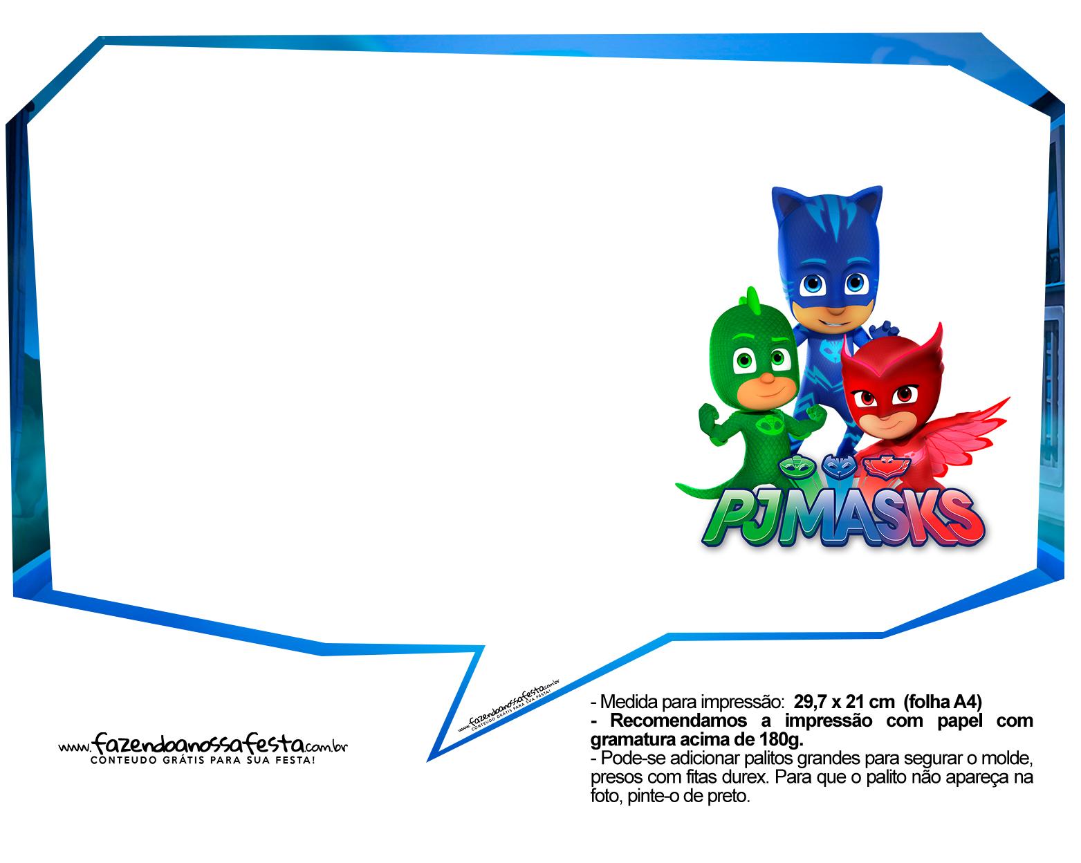 Plaquinhas Divertidas para festa PJ Masks 33